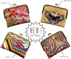 New Coin Purse Needlepoint kits designed by Felicity Hall.