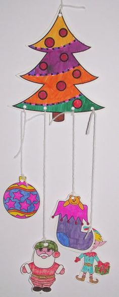 Christmas colouring mobile, assembled