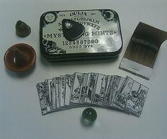 Tiny Seance kit in a mint tin ~ mini tarot card print off