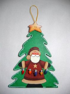 Tole Painted Santa with Lights on Wood Shaped by barbsheartstrokes,