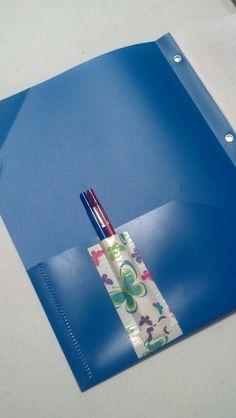 I love duct tape! Duct tape pen pocket for folders.