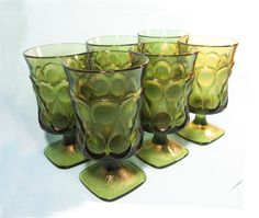 6f52aac5fa6 Goblets 6 Noritake Spotlight olive or avocado by RoseArborVintage Iced Tea  Glasses