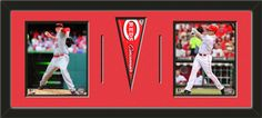 Two framed 8 x 10 inch Cincinnati Reds photos of Zack Cozart  with a Cincinnati Reds mini pennant, double matted in team colors to 30 x 12 inches.  The lines show the bottom mat color.  (Pennant design subject to change)  $99.99@ ArtandMore.com