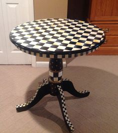 "Pedestal table hand painted round 30""x30"" black white check custom"