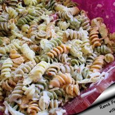 Ranch Pasta Salad With Bacon. Side dish with chips dip and some hamburgers!??