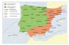 España en la antigüedad (fenicios, griegos, cartagineses, iberos) Geography Of Spain, Historical Maps, History, Roman, Blog, Crochet, Vintage, Maps, World