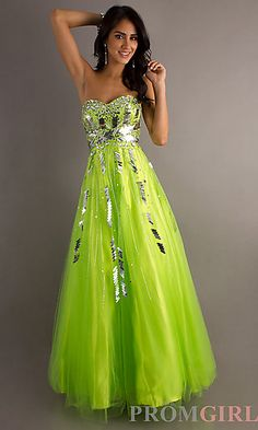 Sparkly lime green prom dress.