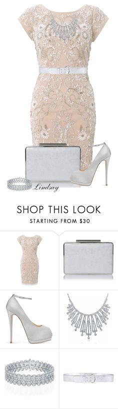 """Aidan Mattox Beaded Cocktail Dress, Ivory/Taupe"" by lindsayd78 ❤ liked on Polyvore featuring Aidan Mattox, L.K.Bennett, Giuseppe Zanotti, Bling Jewelry and Prada"