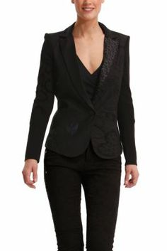 Desigual women's Flis blazer. A very feminine jacket which features embroidered messages.