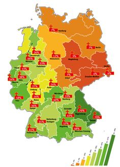 Willkommen in Deutschland! — mapsontheweb: Percentage of Catholics in Germany. Map Diagram, Germany Poland, Bowser, Catholic, Fun Facts, History, Reading, Central Europe, Interesting Facts