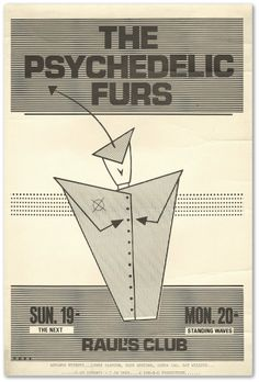 The Psychedelic Furs Concert Poster https://www.facebook.com/FromTheWaybackMachine