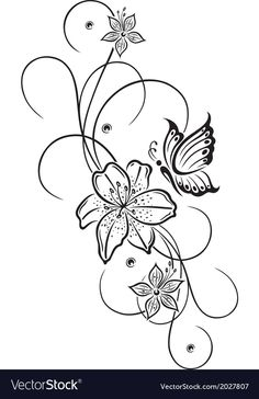 Illustration about Beautiful lily and abstract flowers with butterfly. Illustration of flower, abstract, border - 39093332 Body Art Tattoos, Tattoo Drawings, Art Drawings, Art Papillon, Butterfly Drawing, Butterfly Illustration, Tattoos For Daughters, Abstract Flowers, Fabric Painting