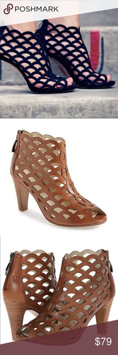 Tan Leather Cage Sandals Gerry Weber Caged Sandal. Add this fierce sandal to your summer wardrobe. Leather upper with decorative cut outs and peep toe for added appeal. Back ankle zipper closure for an easy on and off.  Smooth leather lining. Cushioned footbed for added comfort 3 1/2 inch heel Bare Anthology Shoes Sandals