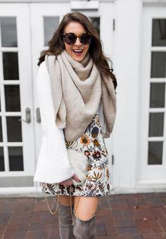 ivory bell sleeve sweater - floral mini skirt - karen walker super dupers - christina beauchamp