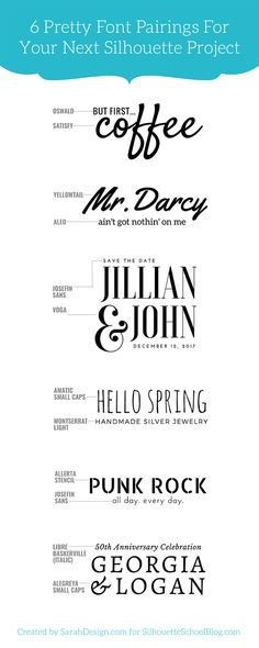 Tip for Perfectly Pairing Fonts for Your Silhouette Projects (And 6 Perfect Matches) - Silhouette Cameo, Silhouette projects, font pairing, Silhouette tip - Silhouette Fonts, Silhouette School, Silhouette Projects, Silhouette Machine, Pretty Fonts, Cool Fonts, Fun Fonts, Best Fonts For Logos, Simple Fonts