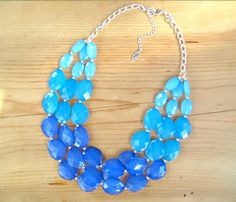 Chunky Turquoise necklace  Aqua Blue Ombre by ThatsmineBoutique, $40.00  Great for a pop of color with a wedding dress.