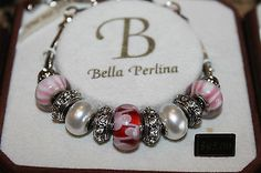 Pink Valentines Charm Bead BRACELET BEADS White Silver Crystal Glass European