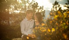 Genesee Mountain Golden Fall Engagement Vibrant Sunset