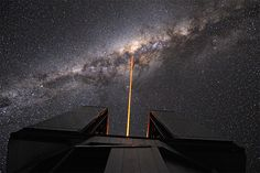 The European Southern Observatory's Very Large Telescope Laser Guide Star into the turbulent heart of the Milky Way. To find distant and dark planets between Earth and the center of the galaxy, the Kepler space telescope will work with observatories all over the globe, using a technique called microlensing. Credit: ESO/G. Hüdepohl