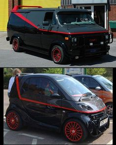 A-Team van for my oldest son & smart car for my youngest son Hahahaha!!!