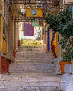 First steps of Kali Strata, leading up to Chorio Simi, Symi Island Greek Island Holidays, Athens Acropolis, Greece Holiday, Greece Islands, Santorini Greece, Small Island, Rhodes, Love People, Beautiful Islands