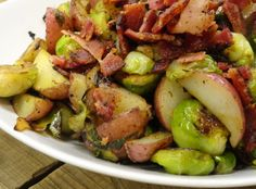 Rosemary Bacon Brussels Sprouts & New Potatoes Recipe | Just A Pinch Recipes