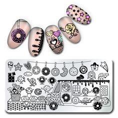 [Visit to Buy] 1Pc  Stamping Plate Doughnut Pattern Nail Art Plate Harunouta  Stamp Plates  Stamping Manicure Image #Advertisement