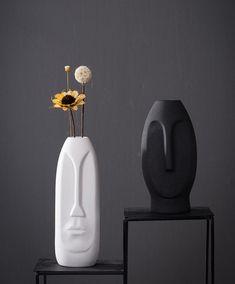 Flower Vases, Flower Pots, Black Spot, Minimalist Decor, Home Office Decor, Ceramic Vase, Home Deco, Modern Decor, Anniversary Gifts