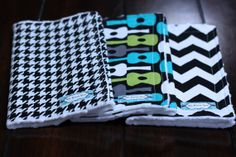 Burp Cloth Trio - Houndstooth, Chevron, and Guitar Boy Burp Cloths - Perfect Boy Burp Cloth Trio- Perfect Baby Gift on Etsy, $17.95