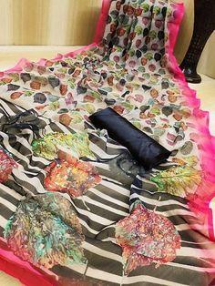 Beautiful Organza Saree with Blouse piece Trendy Fashion, Fashion Outfits, Designer Silk Sarees, Organza Saree, Sari Blouse, Saree Styles, Indian Sarees, Designer Wear, Types Of Fashion Styles