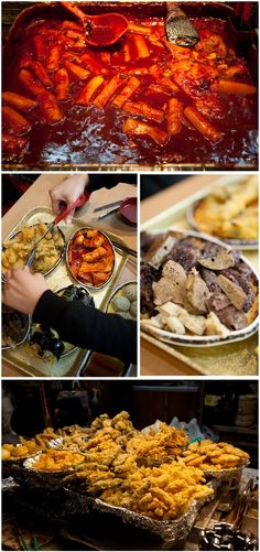 Ddeokbukki, Kimbap, Korean blood sausage(Soondae), fried vegetable / Street Food in Korea and Stuff On Sticks! Korean Street Food, Korean Food, K Food, Food Porn, Korean Dishes, Bons Plans, C'est Bon, International Recipes, Asian Recipes