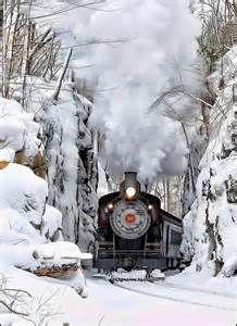 "Beautiful Nature and a gorgeous ""Steam Train"". Winter Magic, Winter Snow, Train Tracks, Train Rides, Train Trip, Motor A Vapor, Hirsch Illustration, Winter Schnee, Bonde"