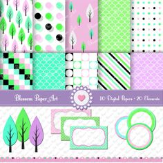 Scrapbooking Pack and Clipart  Violet  by blossompaperart on Etsy, $3.99