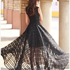 Satin Sleeveless Chiffon Maxi Long Floor Length Plus Size Striped Print Slim Elegant Casual Dress on Luulla Ball Dresses, Ball Gowns, Prom Dresses, Grunge Dress, Glamour, Embroidery Dress, Summer Dresses For Women, Women's Fashion Dresses, Plus Size Dresses