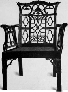 Chinoiserie: Chinese Chippendale chair c. 1760 - from Colonial Furniture In America by Luke Vincent Lockwood, 1913