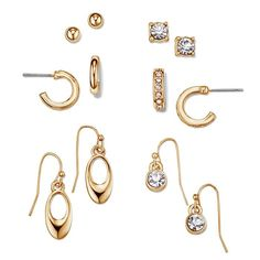 The luxe look of liquid metal makes a statement. Simple details let the details take the stage.A 6 pair earring set that is a collection of pierced studs, hoops, and drops flecked with sparkle. Regularly $19.99, buy Avon Jewelry online at http://eseagren.avonrepresentative.com