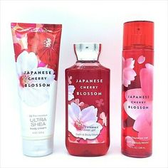 (Ad) Bath and Body Works Japanese Cherry Blossom Cream, Shower Gel and Mist 3-pc Set Japanese Blossom, Shower Gel, Bath And Body Works, Cherry Blossom, Mists, It Works, Cream, Bottle, Creme Caramel