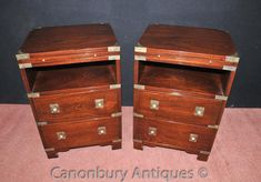 - Gorgeous pair of English campaign bedside chests or nightstands<br> - Great pair, love the look to these with brass corner protectors and fixtures<br> - Two large drawers and smaller surface draw to the top<br> - Really well crafted, solid and sturdy<br> - Campaign furniture is such a good look now, we have other pieces if you are looking for something to match<br> - Purchased from a dealer at Newark Antiques fair in England<br> - Come view these in our Canonbury Antiques Hertfordshire…
