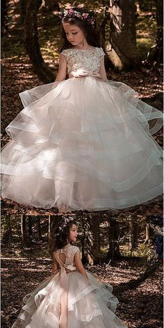 Cheap Organza Lace Appliques Older Flower Girl Dresses With Beadings & Belt,FGY0156#flower girl dress#