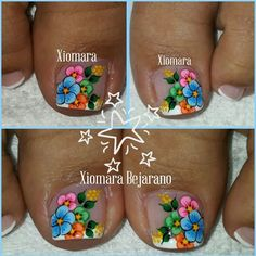 uñas decoradas #damas #uñas #vestidos #dresses #tatuadas #honor Pretty Toe Nails, Cute Toe Nails, Gorgeous Nails, Flower Nail Designs, Pedicure Designs, Toe Nail Designs, Pedicure Nail Art, Toe Nail Art, Manicure