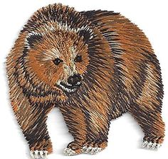 """[Single Count] Custom and Unique (2 1/4"""" x 2 1/4"""") Wild Animal Grizzly Bear Iron On Embroidered Applique Patch {Brown and White Colors} myLife Brand Products http://www.amazon.com/dp/B00ZYC7PPM/ref=cm_sw_r_pi_dp_X5DNvb1K07XNV"""