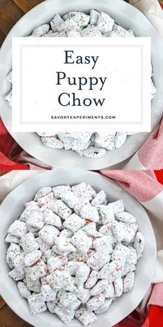 Christmas Puppy Chow transforms a traditional muddy buddy recipe into a festive Reindeer Chow mix! The perfect no-bake dessert for any party or event. Puppy Chow Snack, Puppy Chow Recipes, Snack Mix Recipes, Recipe Puppy, Chow Chow Recipe, Trail Mix Recipes, Candy Recipes, Christmas Snacks, Christmas Cooking