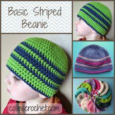 Basic Striped Beanie, coliescrochet.com