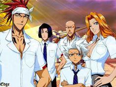 Bleach ~~ School uniforms:: Renji, Toshiro, Masumoto, Yumichika, and I kaku
