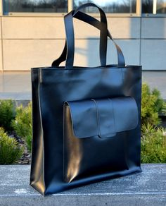 Handtassen - UMA with pocket, Big minimalistic leather bag - Een uniek product van BAGS4JOY op DaWanda