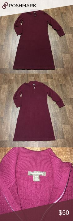 Tommy Bahama Sweater Dress! Love this beauty! Maroon sweater dress. Great piece for the office, casual or to a holiday party. Zipper works with a cable sweater pattern. Tommy Bahama Dresses
