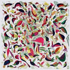 Silk twill scarf LE BAL DES OISEAUX HERMES