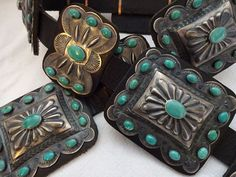 Museum Quality KIRK SMITH CONCHO BELT Hand Stamped Sterling Silver & TURQUOISE