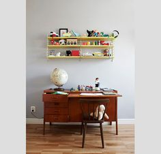 Vintage furniture and colourful quirky toys all on a beautiful grey backdrop. Baby Decor, Kids Decor, Home Decor, Home Staging, Kids Furniture, Vintage Furniture, Kids Workspace, Room Deco, Kid Desk