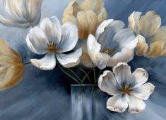 Wood Pallet Art, Wood Pallets, Hd Flower Wallpaper, Decoupage, Silver Flowers, Blue Cream, Diy Painting, Shades Of Blue, Drawings